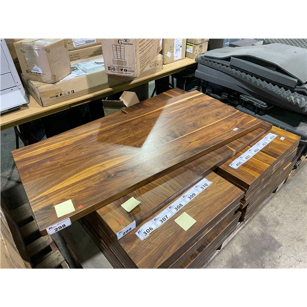 """RUSTIC DARK WOOD COLOURED TABLE TOP 60"""" X 27"""" WITH 2 BLACK METAL T-SHAPE BASES"""