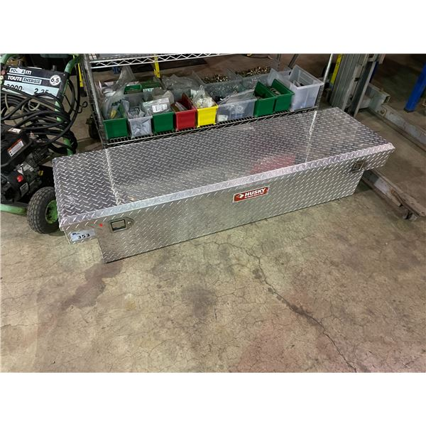 HUSKY ALUMINUM CHECKER PLATE TOOL BOX WITH CONTENTS