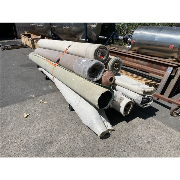 ASSORTED SIZED ROLLS OF COMMERCIAL GRADE & RESIDENTIAL CARPET *CART NOT INCLUDED*