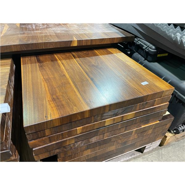 """RUSTIC DARK WOOD COLOURED TABLE TOP 27"""" X 48"""" WITH 2 BLACK METAL T-SHAPE BASES"""