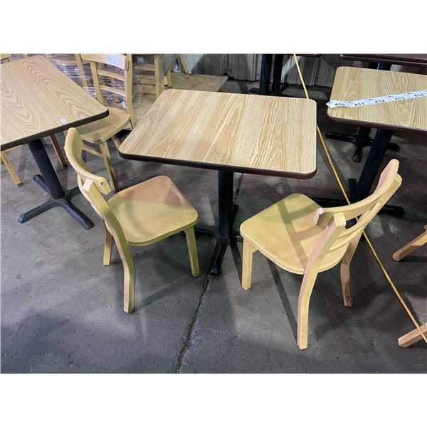 """RECTANGULAR LIGHT WOOD COLOURED TABLE W30"""" X D24"""" X H30"""" WITH 2 ALUMINUM LIGHT WOOD COLOURED CHAIRS"""