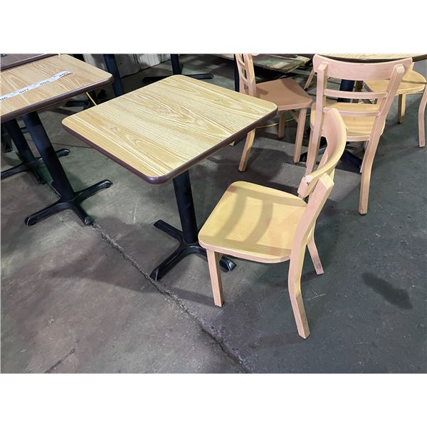 """SQUARE LIGHT WOOD COLOURED TABLE W24"""" X D24"""" X H30"""" WITH ALUMINUM LIGHT WOOD COLOURED CHAIR"""
