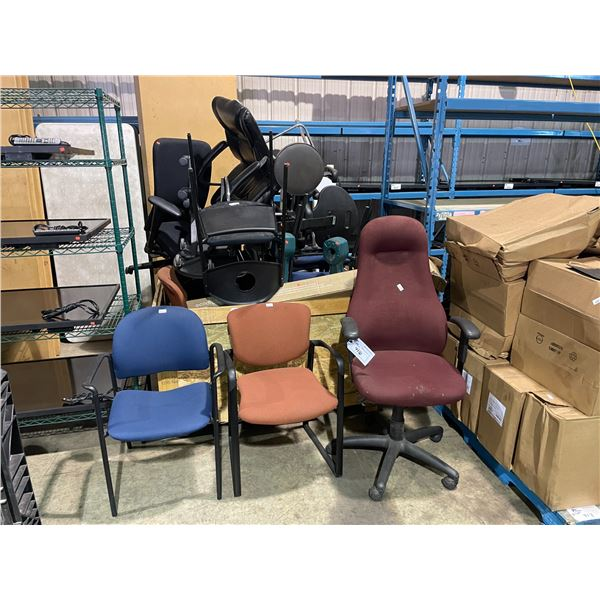 PALLET BIN OF ASSORTED OFFICE CHAIRS, CLIENT CHAIRS, LIGHT, STOOLS & CIGARETTE DISPOSAL BINS
