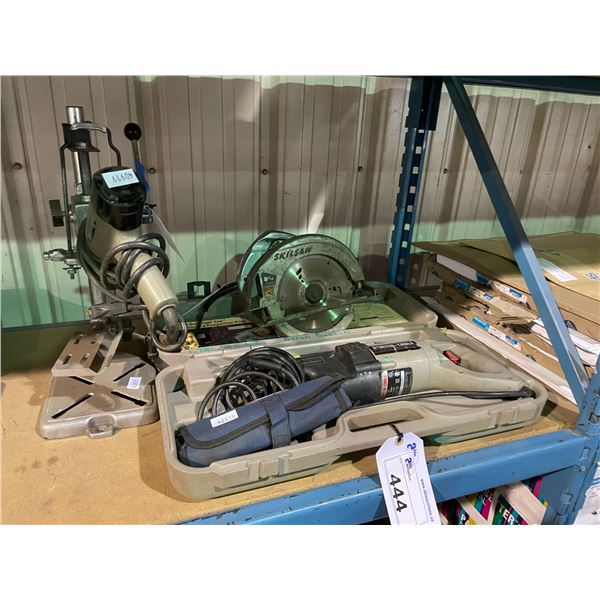 """PORTER CABLE 738 ELECTRIC TIGER SAW IN CARRY CASE, 8-1/4"""" SKILSAW AND DRILL PRESS MOUNT WITH PORTER"""