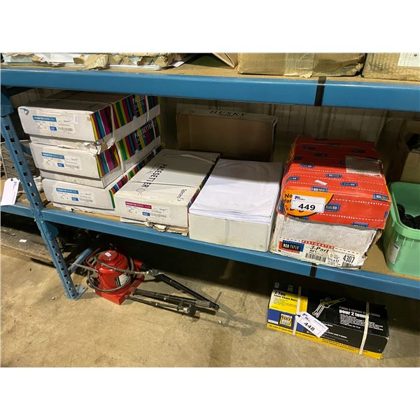 SHELF LOT OF ASSORTED OFFICE PAPER SUPPLIES, PLUMBING TEST CAPS AND COUPLINGS