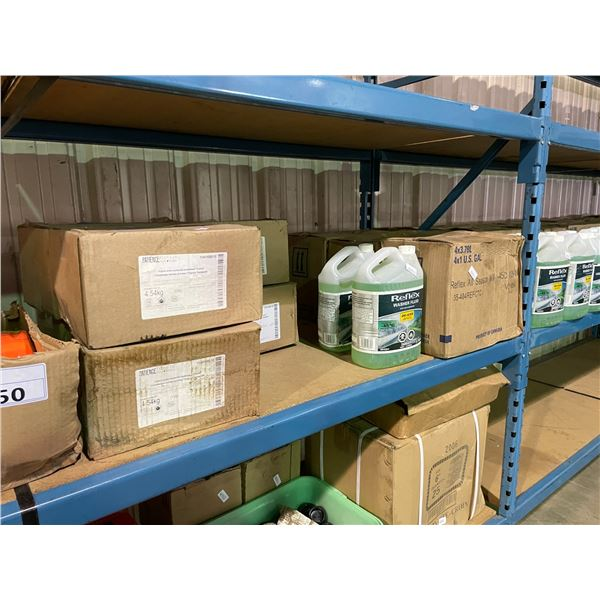 SHELF LOT OF  ASSORTED SIZE PAPER STOCK, BOX OF SAFETY VESTS, 3 BOXES OF REFLEX WASHER FLUID, AND 6