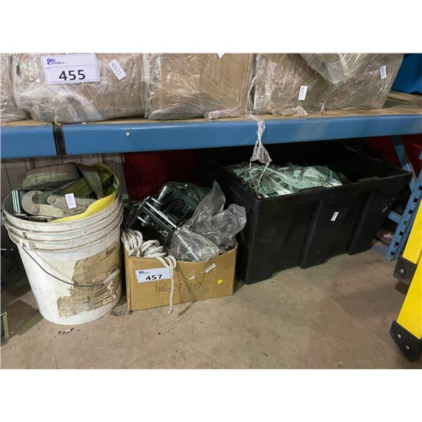 SHELF OF ASSORTED ROPE, STRAPS, RATCHETS AND HAND CRANKS