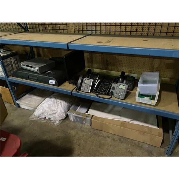 """2 SHELVES OF ASSORTED OFFICE SUPPLIES INCLUDING SONY 37"""" LED TV, PANASONIC DVD PLAYER, 6 POLYCOM"""