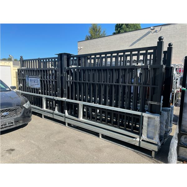 SUIHE 20' BI-PARTING BLACK METAL FRAME DRIVEWAY GATE 20'L X 5'H
