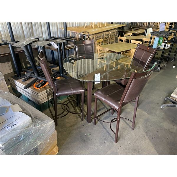"""BROWN 46"""" SQUARE METAL FRAMED GLASS TOP 5PCS BAR HEIGHT TABLE & CHAIRS SET"""