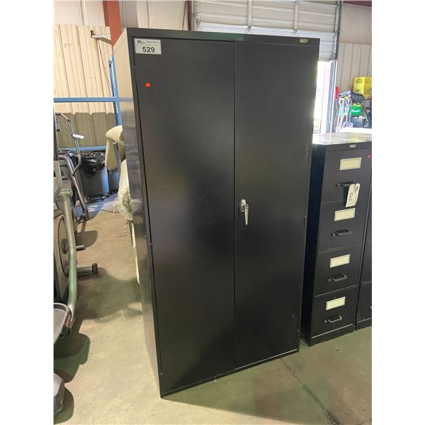 "BLACK 2 DOOR METAL CONSUMABLES CABINET 36""W X 18""D X 72""H"