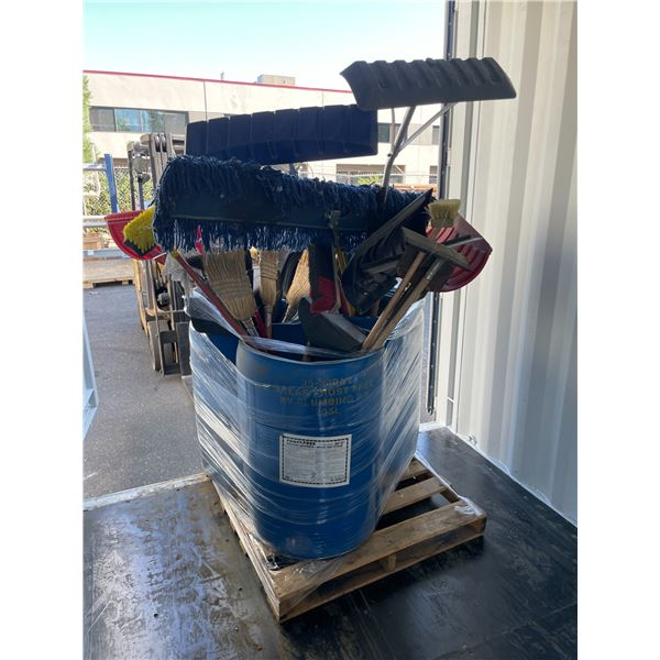 3 BARRELS OF ASSORTED JANITORIAL SUPPLIES INCLUDING BROOMS, DUST PANS, WATER SQUEEGEES, SCRAPERS,