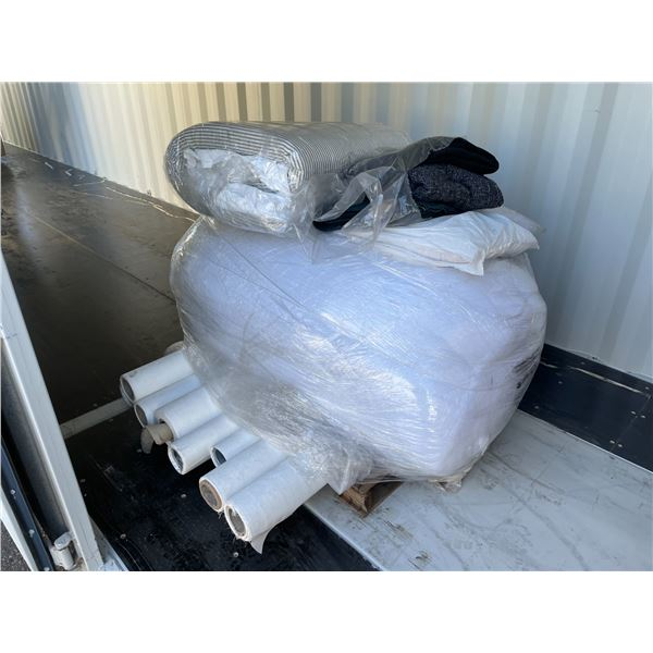 8 ROLLS OF WHITE NYLON FABRIC, LARGE BAG OF STUFFING MATERIAL, PILLOWS AND BLANKETS