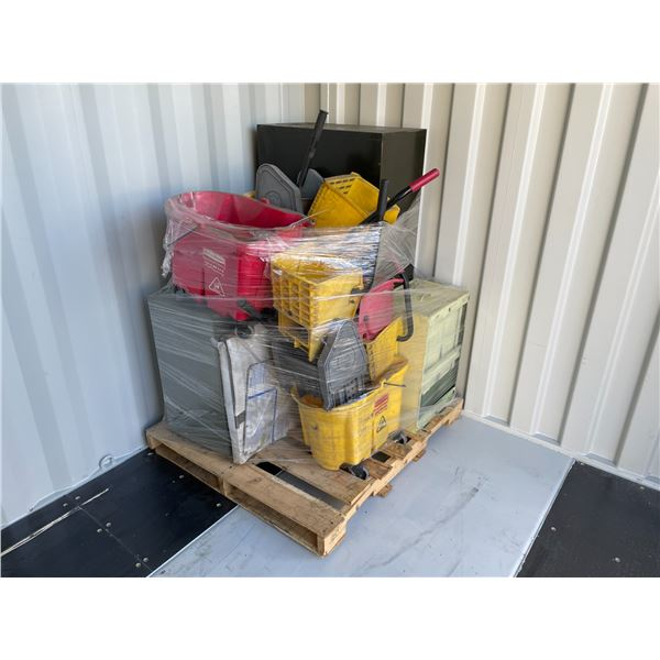 PALLET OF 3 MOP BUCKETS, 3 ASSORTED SIZE FILING CABINETS AND LARGE BOX OF ASSORTED PARTS BINS