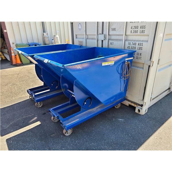 "BLUE MOBILE METAL INDUSTRIAL FORKLIFT DUMP BIN W41"" X L57"" X H51"""