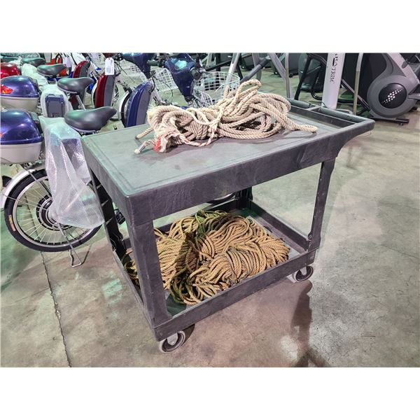 BLACK 2 TIER MOBILE WAREHOUSE PRODUCT CART WITH ASSORTED ROPE