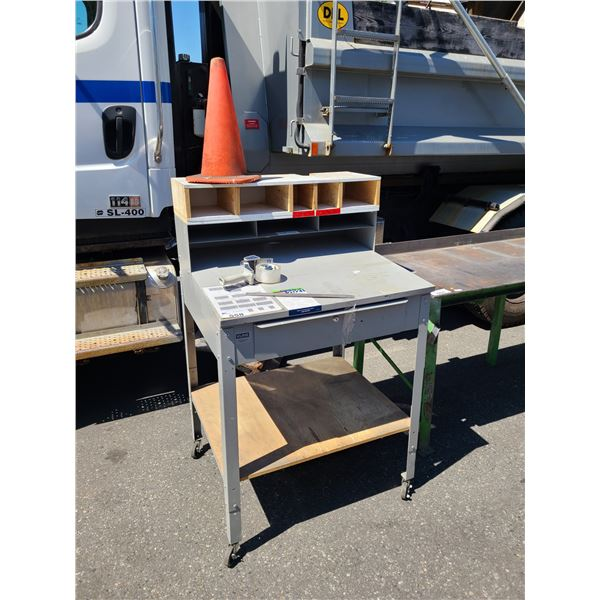 """GREY METAL 2 TIER MOBILE SHIPPING/RECEIVING TABLE WITH 8 CUBBIES AND DRAWER W35"""" X D30"""" X H57"""""""