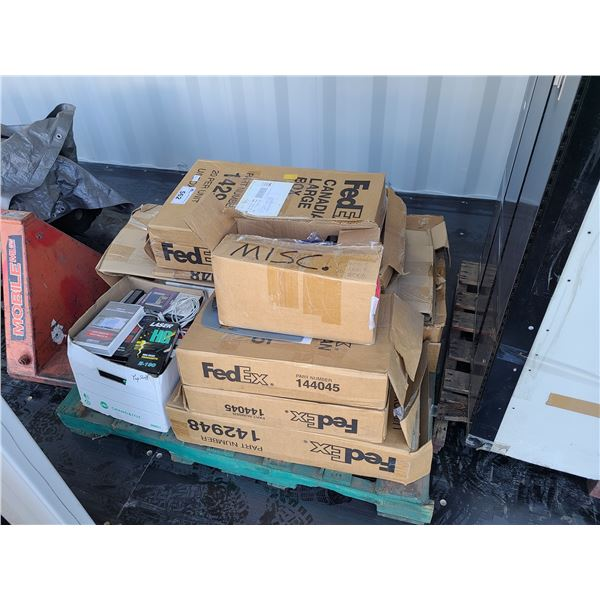 PALLET OF ASSORTED SHIPPING BOXES, SHIPPING AND OFFICE SUPPLIES