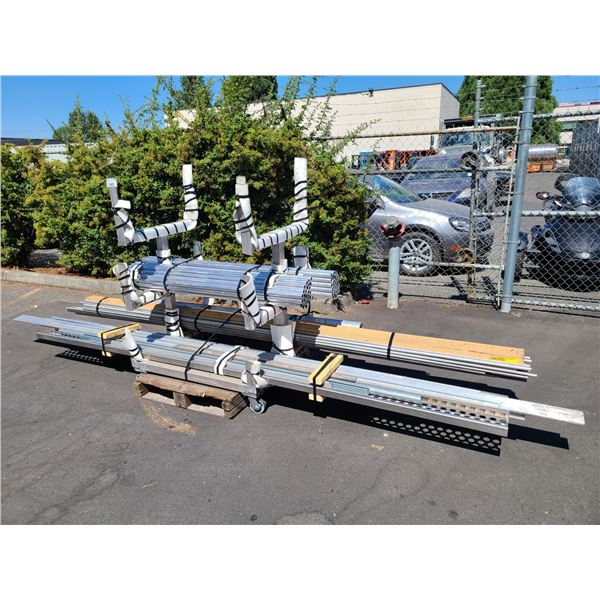 3 TIER MOBILE METAL CANTILEVER WITH CONTENTS OF ASSORTED ALUMINUM TUBING AND STEEL STOCK
