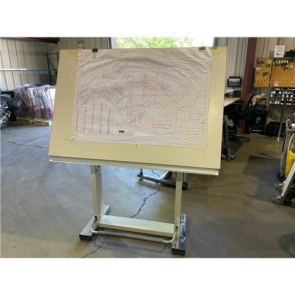 """LEONAR WHITE ADJUSTABLE DRAFTING BOARD 59"""" X 41"""" AND MAYLING WHITE ADJUSTABLE DRAFTING DESK W48"""" X"""