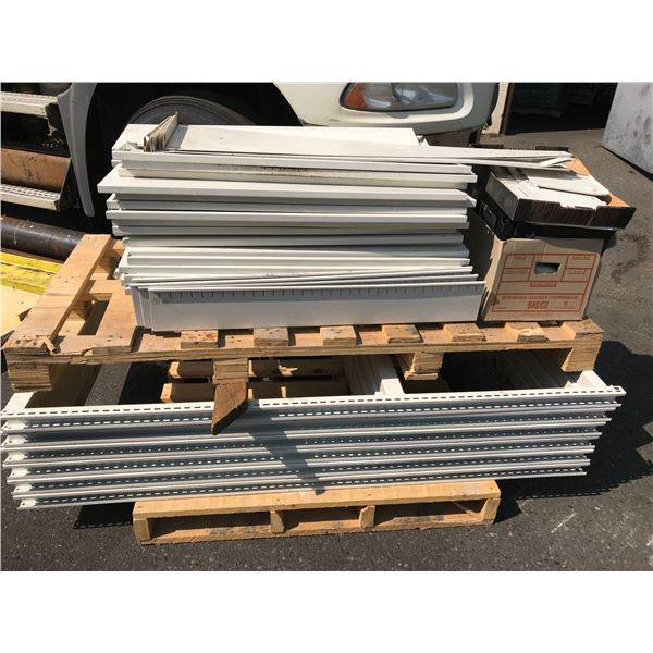 PALLET OF WHITE METAL COMMERCIAL FILE SHELVING & PARTS