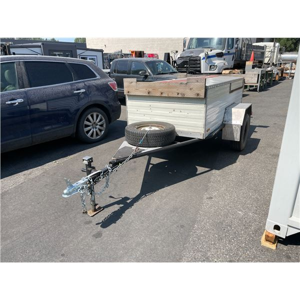 1992 GREY U-BUILT VIN#K53MFG SINGLE AXLE UTILITY TRAILER WITH COVERED STORAGE & 3 ACCESS POINTS