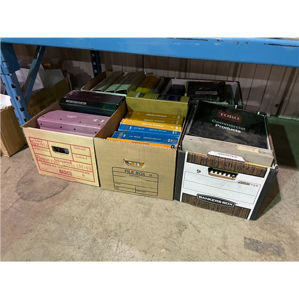 5 BOXES OF ASSORTED VEHICLE MANUALS / PARTS BOOKS