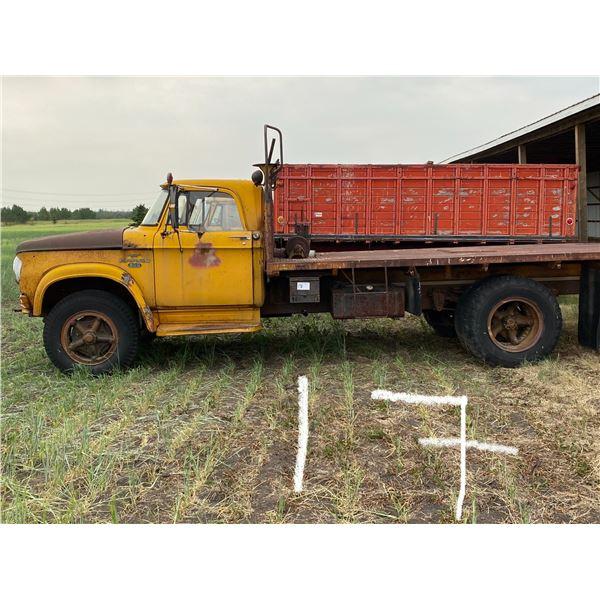 *1967 Fargo 600 S.Axle on Duals, 15' Steel Deck, Head Ache Rack, & Tulsa Cable Winch, Shedded