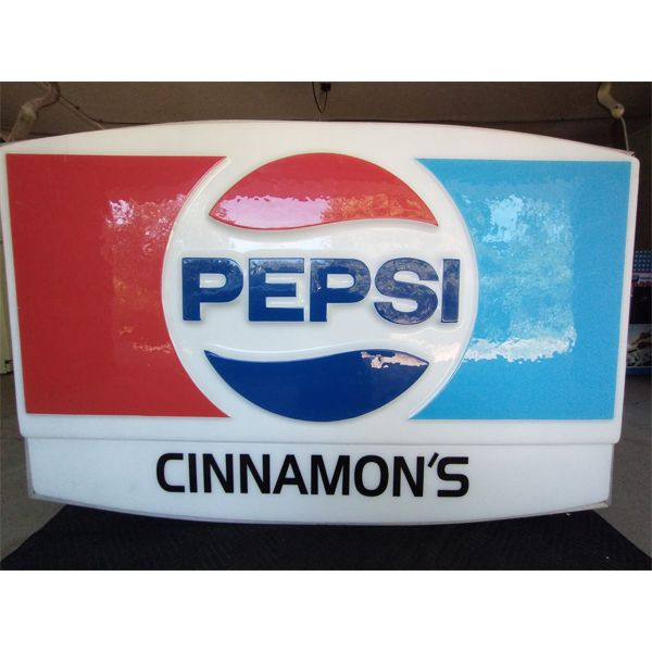 NO RESERVE! Double sideded large Pepsi light up hanging sign