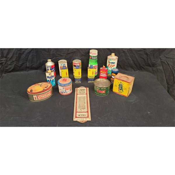 NO RESERVE! Collection of vintage lighter fluids, coca cola puzzle, antique thermometer
