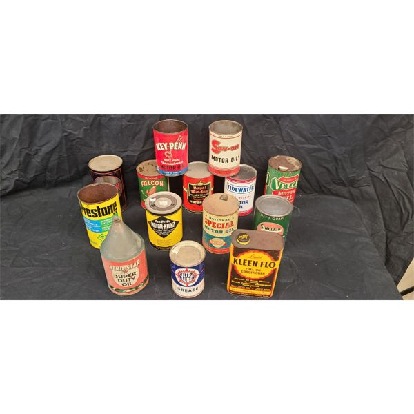 NO RESERVE! COLLECTION OF RARE VINTAGE CANS INCLUDING PRESTON AND SINCLAIR
