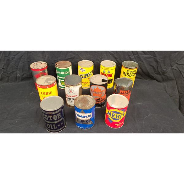 NO RESERVE! RARE COLLECTION OF VINTAGE OIL CANS INCLUDING SUPERTEST AND CHAMPLIN