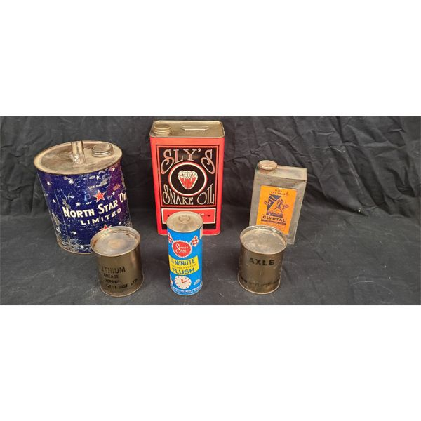 NO RESERVE! COLLECTION OF RARE VINTAGE OIL CANS INCLUDING SLY'S SNAKE OIL