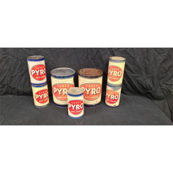 NO RESERVE! COLLECTION OF VINTAGE PYRO ANTI FREEZE CANS