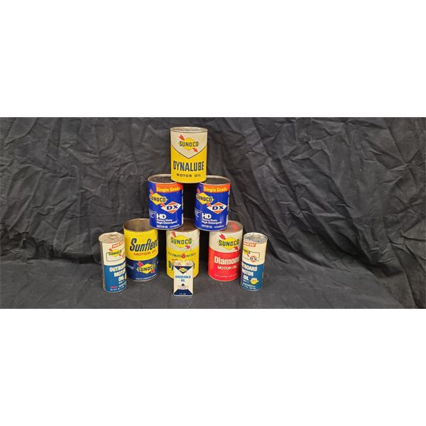 NO RESERVE! VINTAGE COLLECTION OF SUNOCO OIL CANS