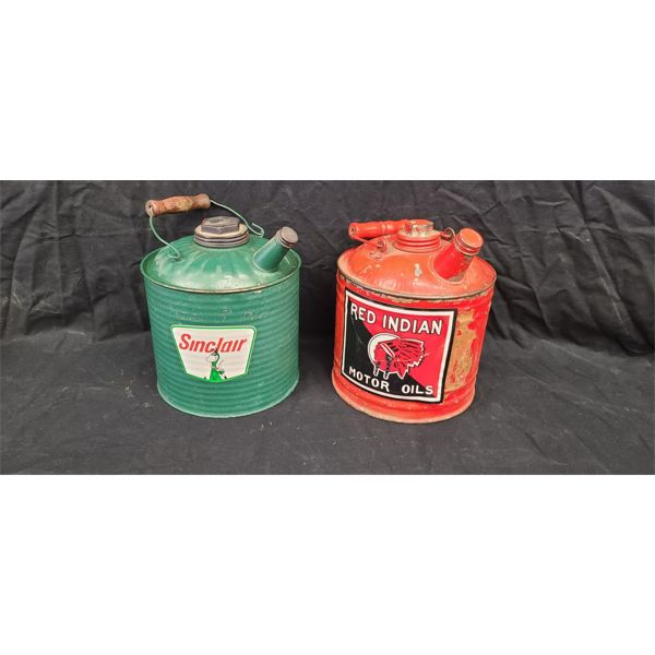 NO RESERVE! RARE! Vintage Red Indian and Sinclair Gas cans