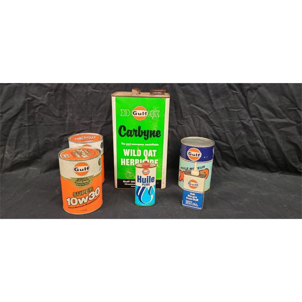 NO RESERVE! Collection of vintage GULF oil cans