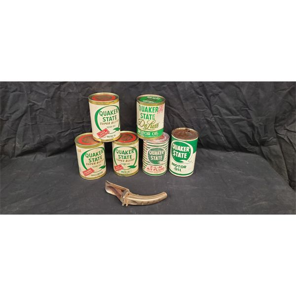 NO RESERVE! Collection of Quaker State oil cans and spout