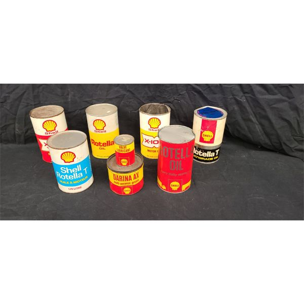 NO RESERVE! Collection of Vintage Shell oil cans