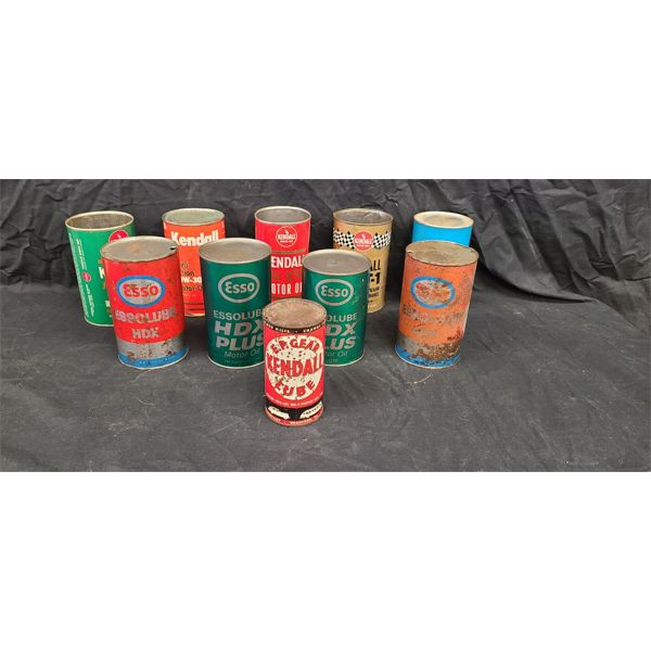 NO RESERVE! Collection of vintage and rare Esso and Kendall oil cans