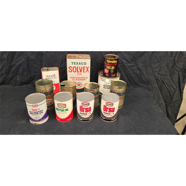 NO RESERVE! Collection of vintage Texaco cans