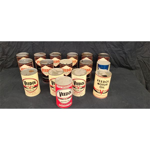 NO RESERVE! Collection of vintage Vedol Oil Cans