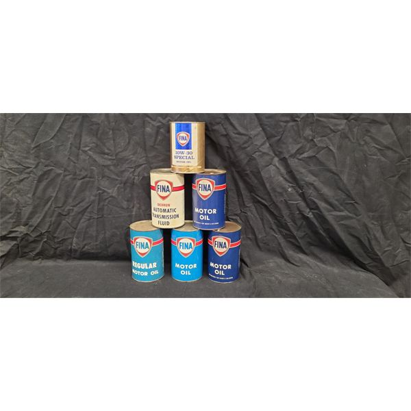NO RESERVE! Collection of vintage Fina oil cans