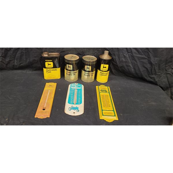 NO RESERVE! Assortment of vintage collectable John Deer cans and thermometers