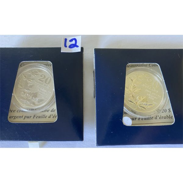 LOT OF 2 - 2011 - 20$ FINE SILVER COIN - MAPLE LEAF