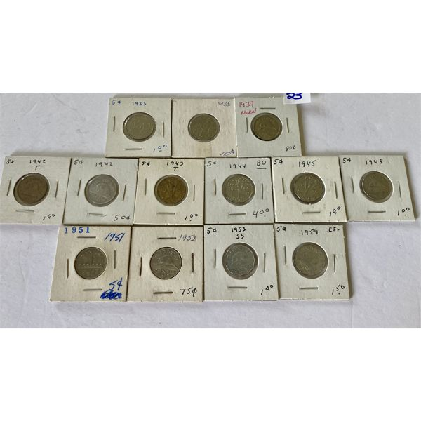 LOT OF 13 - 5 CENT CND COINS FROM 1930's, 40's, 50's