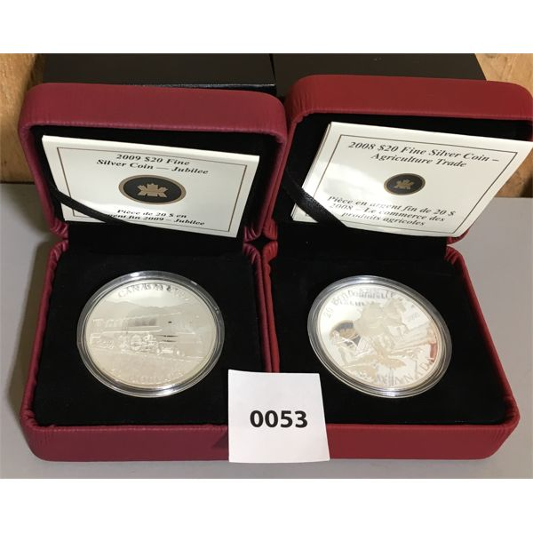 LOT OF 2 - 2008 & 2009 RCM $20 FINE SILVER COINS