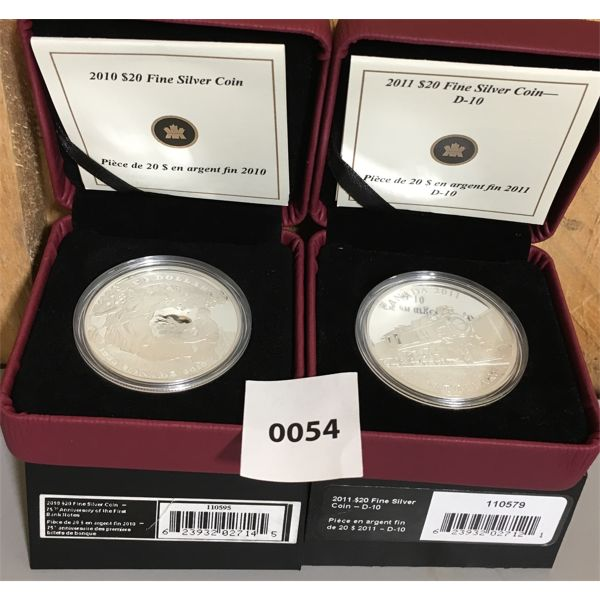 LOT OF 2 - 2010 & 2011 RCM $20 FINE SILVER COINS