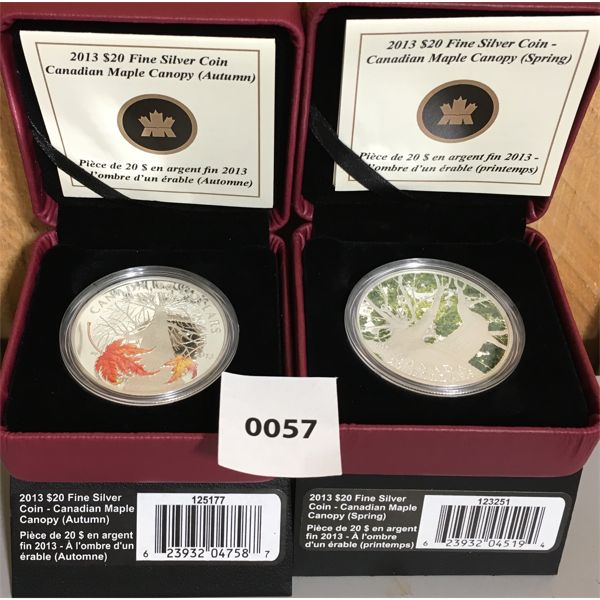 LOT OF 2 - 2013 RCM $20 FINE SILVER COINS