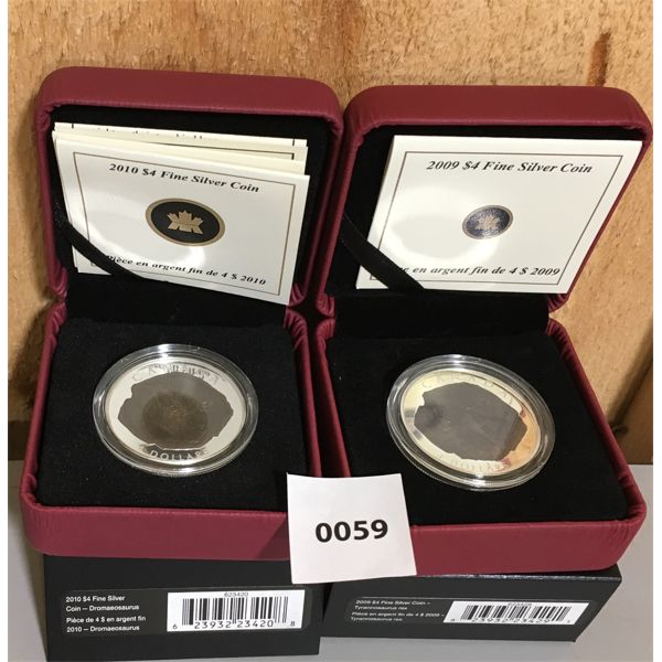 LOT OF 2 - 2009 & 2010 $4 FINE SILVER COINS -